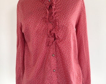 Vintage Red Flower Print Frill Collar Shirt - UK Size 16/US Size 12