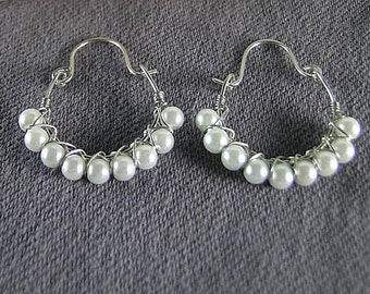 Wire Wrapped Pearl Hoops - Renaissance Earrings