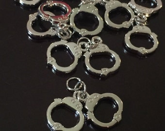 3 PC Handcuffs Charm-Police Charm-Handcuffs Charms-Antique Silver Tone Charm