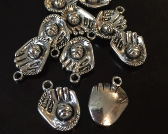 5 PC 3D Baseball Glove Charms-Ball Glove Charms-Antique Silver Charms