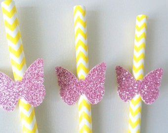 Yellow and pink glittery butterfly straws .. paper straws .. butterfly .. pink and yellow .. birthday .. party