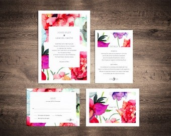 Vintage style wedding invitation suite with Watercolour flowers - printable set of 4