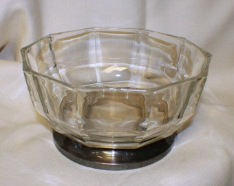 Vintage Godinger Large Crystal & Silverplate on Brass Bowl Made in Italy