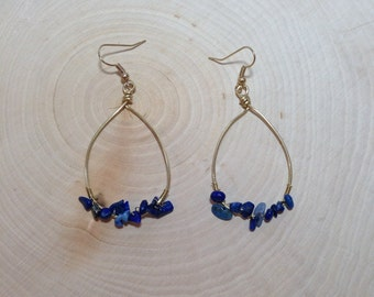 Wire Wrapped Blue Hoops