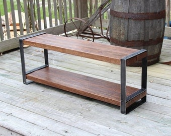 Reclaimed wood bench, Industrial bench, Wood metal, Entertainment center, Console, Entry bench, Barnwood, Furniture