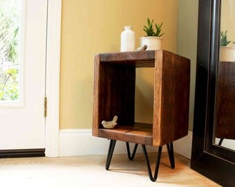 Reclaimed wood end table, night stand, side table, plant stand reclaimed wood end table, industrial side table, entry