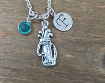 Personalized Golf Necklace - Hand stamped Monogram Golf Necklace - Initial Necklace - Golf Clubs Necklace