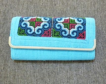 Embroidered wallet Baby blue red color ,button zipper handmade native clutch purse cute wallet women gift ideas /bag fashion