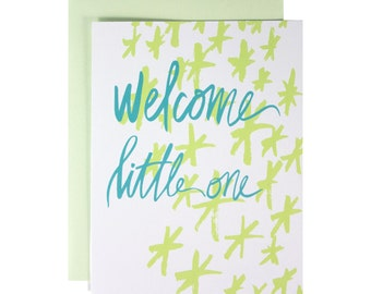 Hand LetteredNew baby card, gender neutral, welcome little one, hand illustrated, green stars, blue lettering