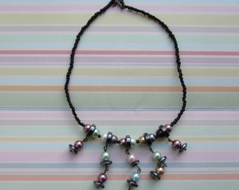 Multicolored Beaded Necklace, Black Seed Bead Necklace, Chocker Necklace
