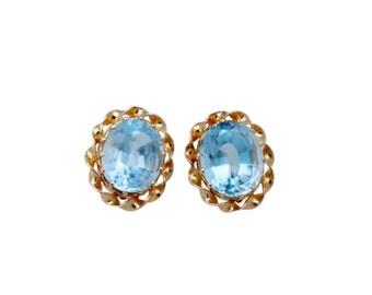 1940's Blue Topaz set in 14K Gold Earrings