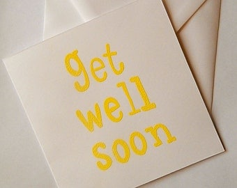 Handmade, get well soon card, thinking of you card, poorly card, not feeling well card