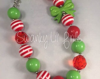 Girls Chunky Necklace,Red & Green Necklace, Chunky Necklace, Bubble Gum Bead Necklace