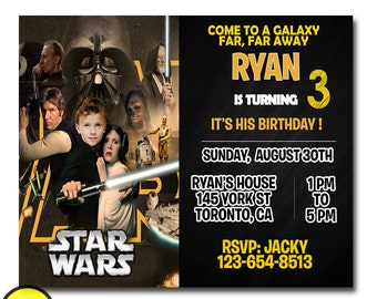 star wars boy birthday party invitation, star wars first birthday