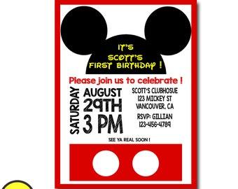 MICKEY MOUSE INVITATION, Mickey Mouse Birthday, Mickey Mouse 2nd birthday Invitation, Mickey Mouse 3rd Birthday Invitation