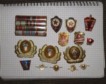 Set of soviet and GDR pins badges