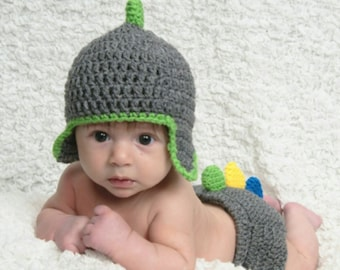 Dinosaur Baby Hat and Diaper Cover Newborn Baby Prop