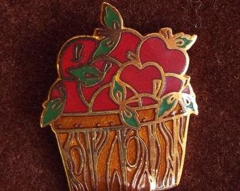 Vintage Hallmark Cloisonne Enameled Basket of Apples Brooch Pin
