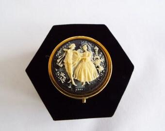 Vintage Romantic Couple Cameo Pill Box Cinderella & Prince Charming Pill Box Goldtone Black / White Travel Pill Box/ Trinket Box