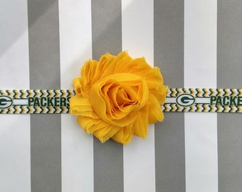 Green Bay Packers elastic headband with green, yellow or white shabby flower for baby, toddler and adult