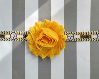 Pittsburg Steelers Football logo printed headband with yellow, black or white shabby flower for baby, toddler and adult