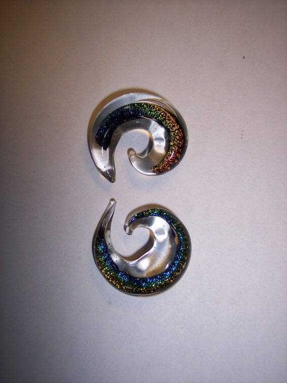 Dichroic Glass 00 Gauge Spirals tapers Plugs with Rainbow