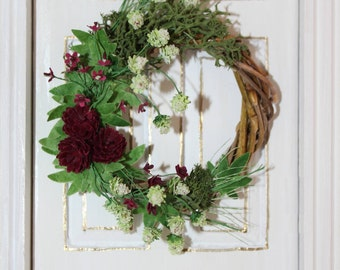 Hand Made 1/12th Scale Flower and Hop Autumn Wreath - 50% OFF