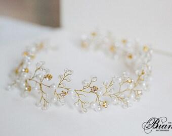 Wedding Tiara, Wedding Headband, Bridal Hair Vine, Boho Headpiece, Wedding Crown, Bridal Headband, Wedding Hair Accessories