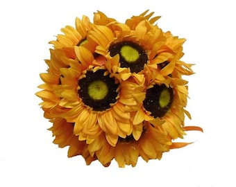 "Large Sunflowers Kissing pomander ball 10"" made of real touch sunflowers set of 6"