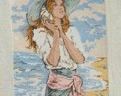 Jessica gobelin, Girl listening to a sea shell on the beach gobelin, non nude girl gobelin; Great Gift