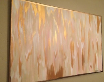 24x36 Pink/Cream/Gold Abstract
