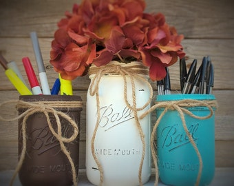 Rustic Office Decor-Rustic Desk Organizer-Office Gift-Mason Jar Pencil Holder Set-New Job Gift-Desk Organizer-Set of Mason Jars for Desk