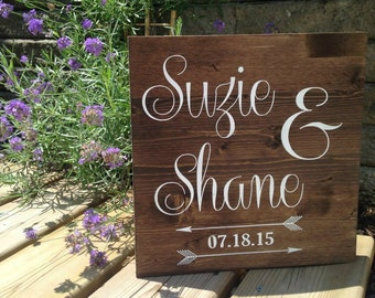 Custom Wooden Sign - Names & Date