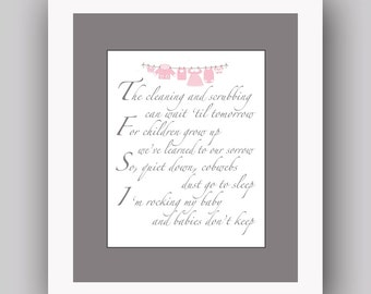 Babies don't keep poem, Cleaning and Scrubbing Print, Mother Wall Art, Mother poem, Baby poem,  also in other colors, available in canvas