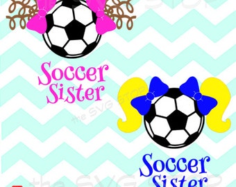 Pigtails Soccer Sister SVG and studio files for Cricut, Silhouette, Vinyl Cutters and Screen Printing