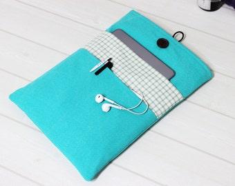 Macbook Air case, Pro Retina sleeve, 13 laptop sleeve, gingham laptop sleeve, modern Macbook case, mint Macbook sleeve, mint gingham cover