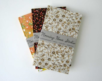 Handbound Journal / White and Brown Floral Print / Full Cloth Flatback