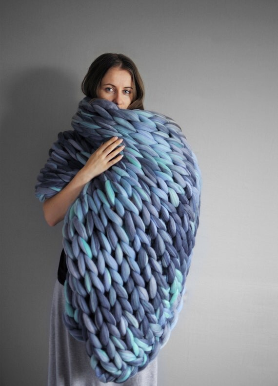 Large Blanket In Color Mix Grande Punto Chunky Knit By Ohhio