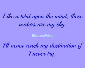 Like a bird upon the wind, these waters are my Sky---Garth Brooks