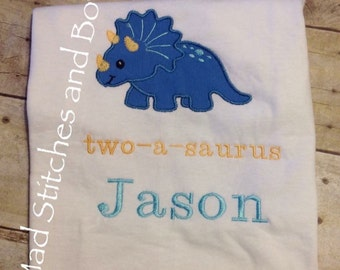 Dinosaur Custom embroidered birthday shirt