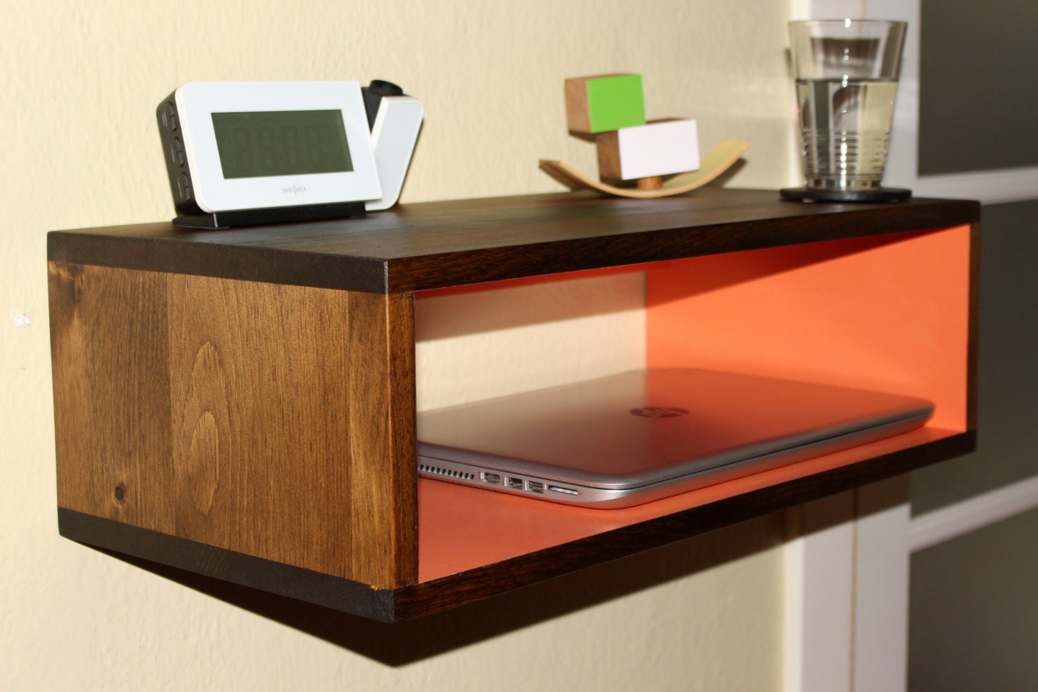 Floating nightstand entryway console bookshelf by for Floating nightstand