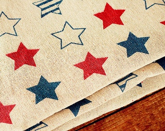 Stars Fabric Linen Cotton Fabric Red Navy Blue Stars Fabric Bag Home Decor Fabric - 1/2 yard f26a