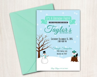 Boy's Winter Birthday Party Invitation Snowman Printable
