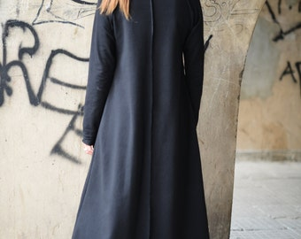Plus Size Maxi Dress / Extra Long Black Dress / Black Cotton dress / Maxi Kaftan / Donation to UNICEF Maxi Black Dress by EUGfashion