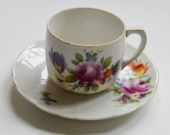Sweet Little French Vintage Bone China Cup and Saucer