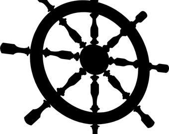 Ships helm wall art sticker decal free p&p