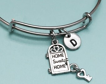 Home sweet home bangle, home sweet home charm bracelet, expandable bangle, charm bangle, personalized bracelet, initial, monogram