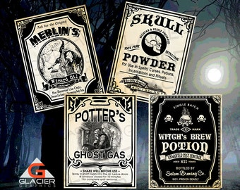 Vintage Poison Apothecary Tags Potion Bottle Halloween Witch Labels Printable Collage Sheet Clip Art Scrapbooking