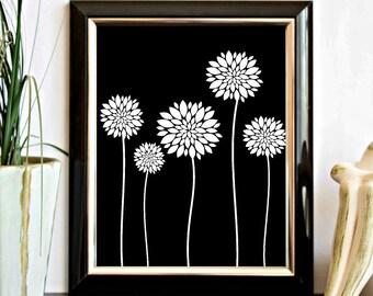 White Dahlia Printable Wall Decor - Flower Wall Art - Office Decor - Digital Artwork - Long Stemmed