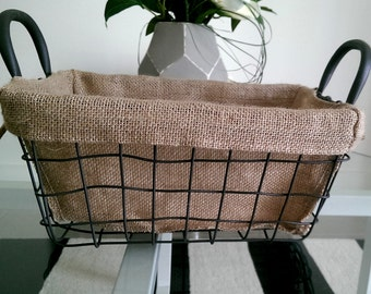 French Style Wire Basket With Hessian(Medium),farm house look,Farmhouse Hessian Wire Basket,Wire Basket with Hessian, House Gift, Gift Ideas